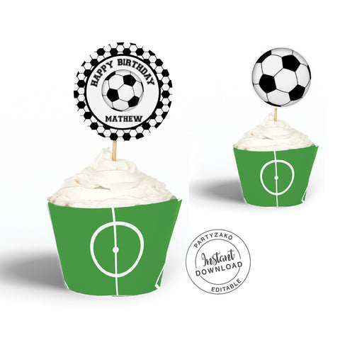 Soccer Cupcake Topper and Wrapper