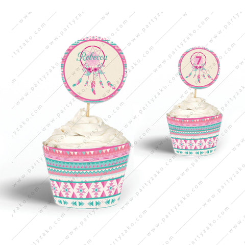 Tribal Cupcake Topper and Wrapper