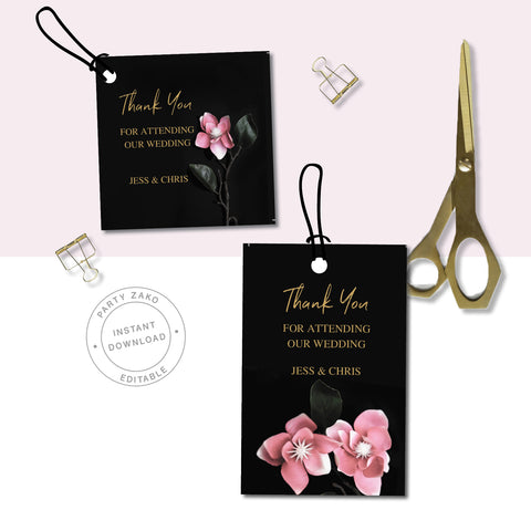 Moody Black Orchid Wedding Favor Tags