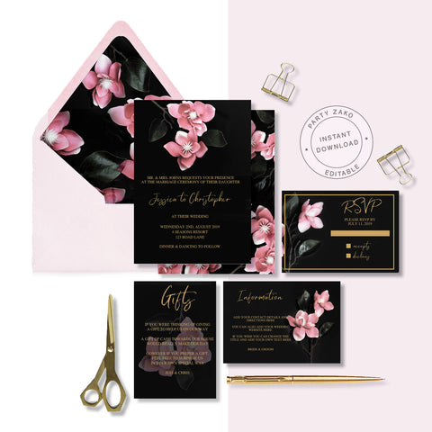 Moody Black Orchid Invitation Suite