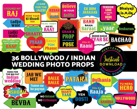 Indian Bollywood Wedding Photo Props