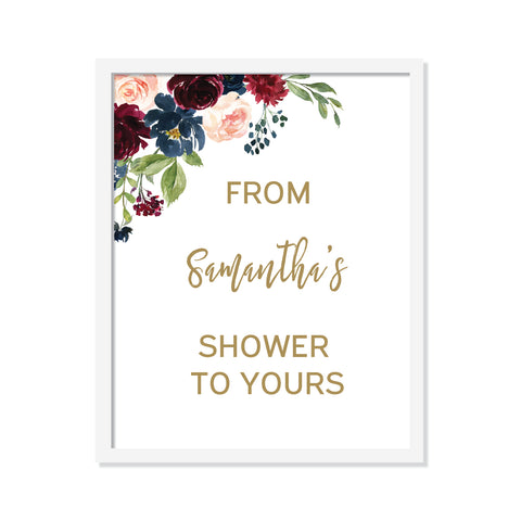 Burgundy Navy Floral - From my shower to yours Poster