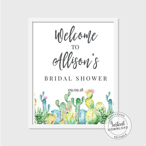 Cacti Bridal Shower Welcome Poster