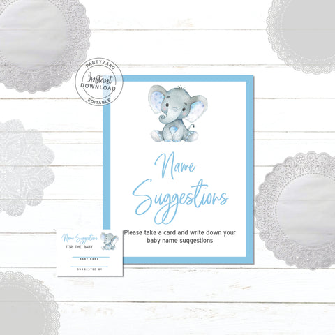 Elephant Baby Shower Name Suggestion