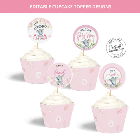Elephant Girl Cupcake Topper and Wrapper
