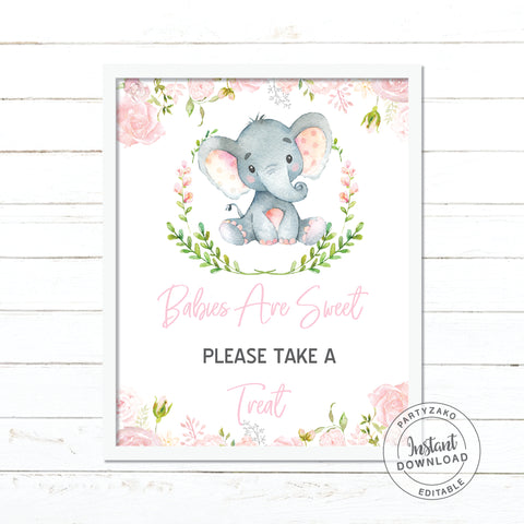 Babies Are Sweet Sign - Elephant Girl Baby Shower