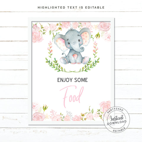 Food Sign - Elephant Girl Baby Shower