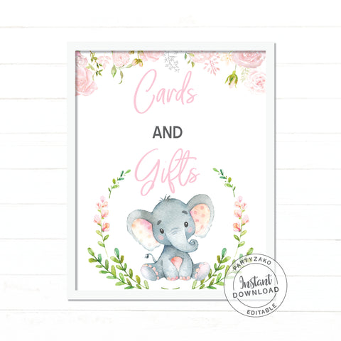 Cards Sign - Elephant Girl Baby Shower