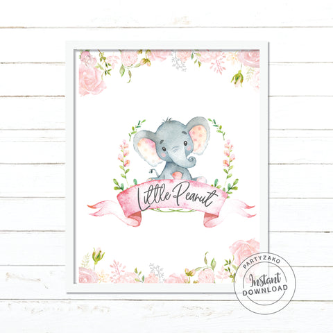 Welcome Sign Elephant Girl Baby Shower