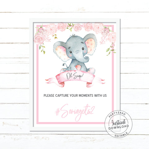 Oh Snap sign Elephant Girl Baby Shower