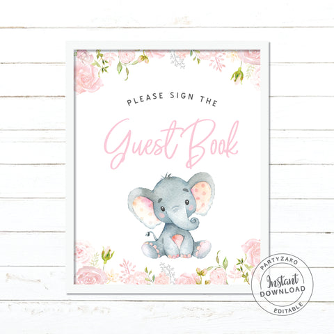 Guest book sign - Elephant Girl Baby Shower