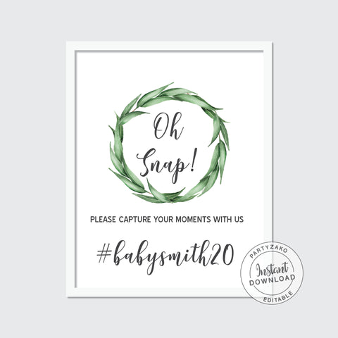 Oh Snap sign Eucalyptus Baby Shower