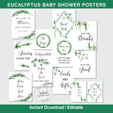 Eucalyptus Baby Shower Posters