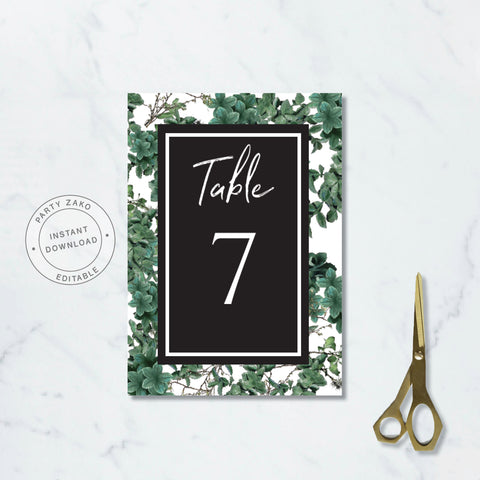 Greenery Table Numbers