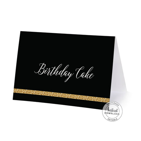 Twenty Black and gold 20th Buffet Label / Food Card