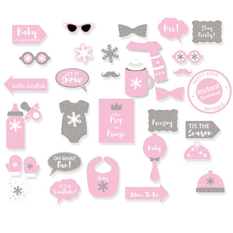Pink winter baby shower props