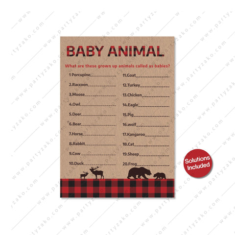 Lumberjack Baby Animal Match