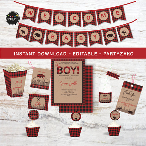 Lumberjack Baby Shower Printable Decor Kit