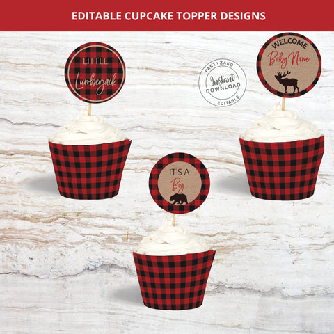 Lumberjack Cupcake Topper and Wrapper
