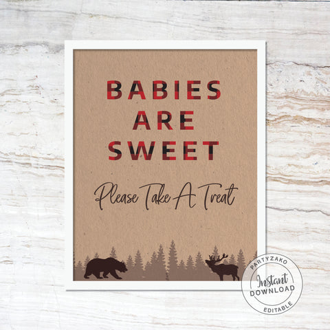 Babies Are Sweet Sign - Lumberjack Baby Shower
