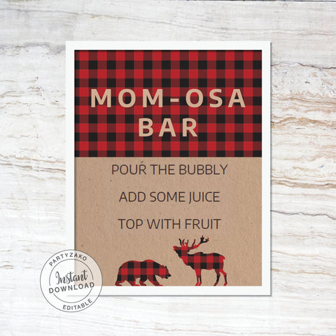 Mimosa Bar Sign - Lumberjack Baby Shower