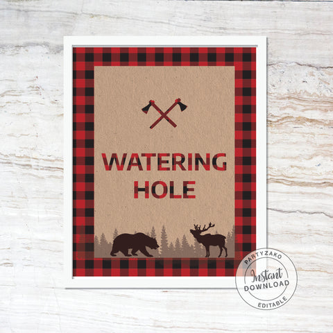 Watering Hole - Drinks Sign - Lumberjack Baby Shower