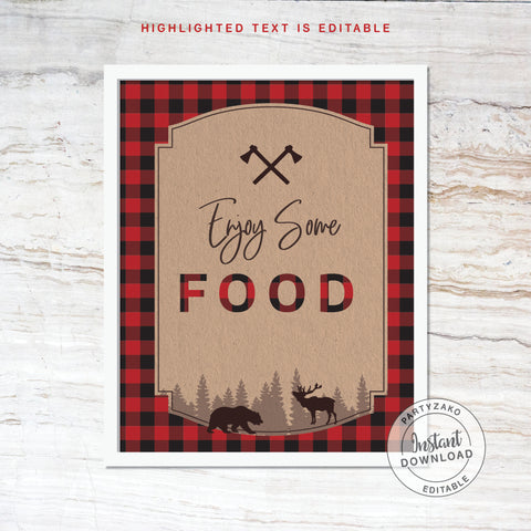 Food Sign - Lumberjack Baby Shower