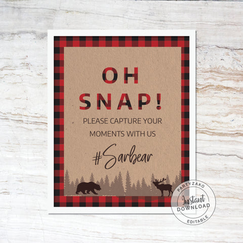 Oh Snap sign Lumberjack Baby Shower