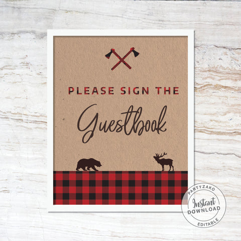 Guest book sign - Lumberjack Baby Shower