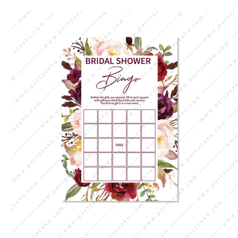 Marsala Bridal shower Bingo