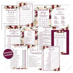 Marsala Flowers bridal Shower game bundle