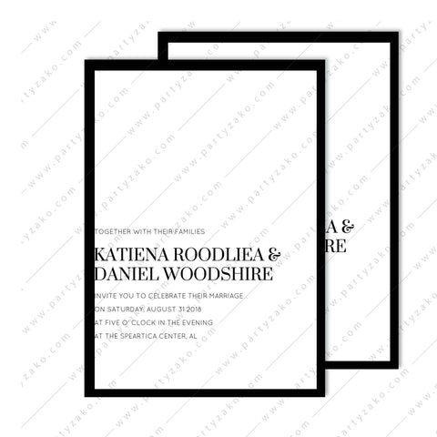 Moody Minimal Wedding Invitation