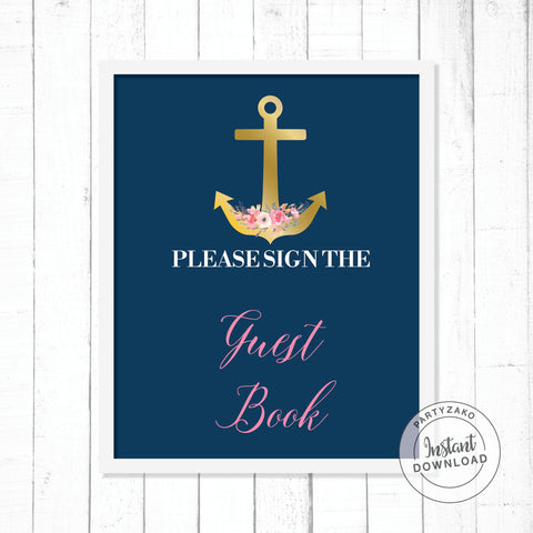 Nautical Guest Book Poster