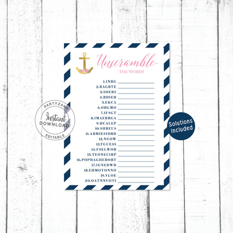 Nautical Unscramble the words