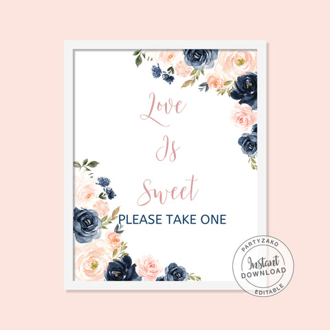 Navy Blush Love is Sweet Poster