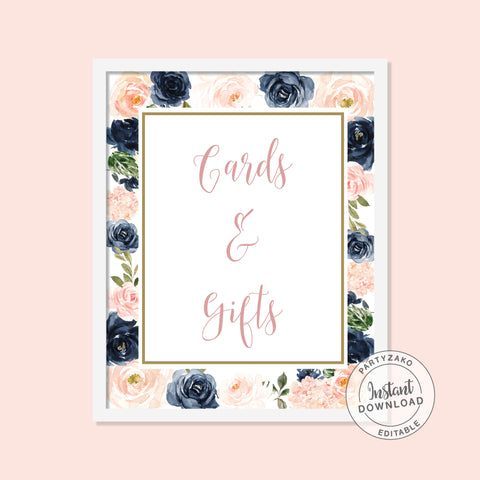 Navy Blush Cards & Gifts Poster