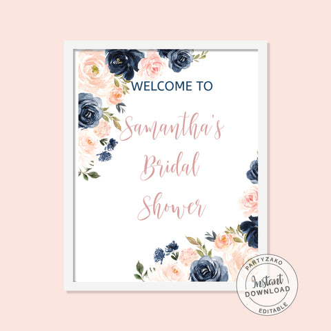Navy Blush Welcome Poster