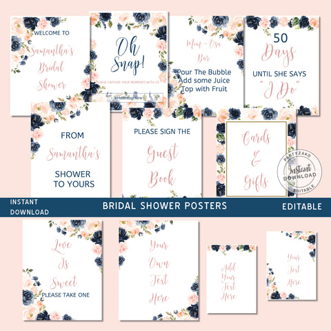 Navy Blush Bridal Shower Posters