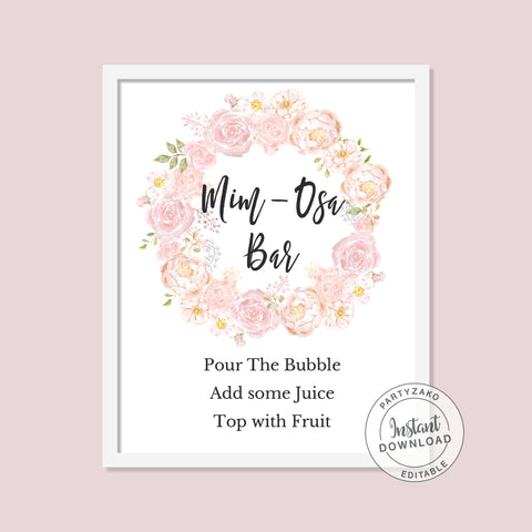 Peony Bridal Shower - Mimosa Bar Sign - Editable