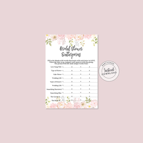 Peony Bridal Shower Scattergories