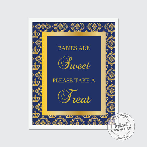 Babies Are Sweet Sign - Royal Prince Baby Shower