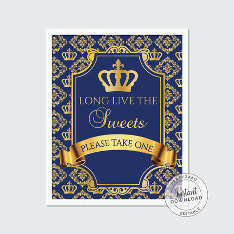 Guest book sign - Royal Prince Baby Shower