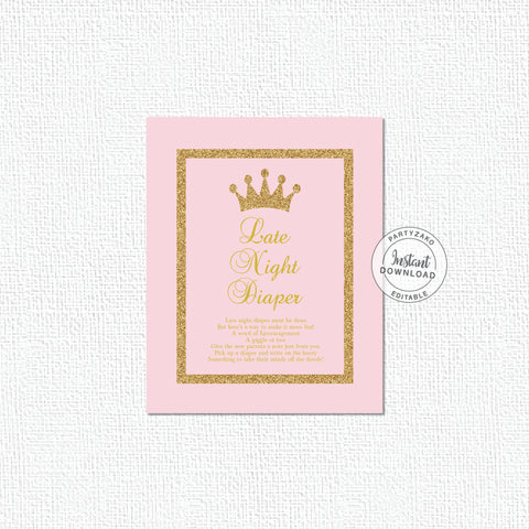 Cards Sign - Princess Baby Shower