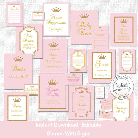 Princess Baby Shower games and posters