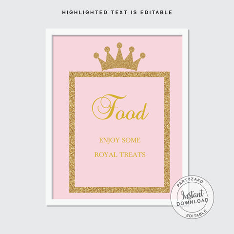 Food Sign - Princess Baby Shower