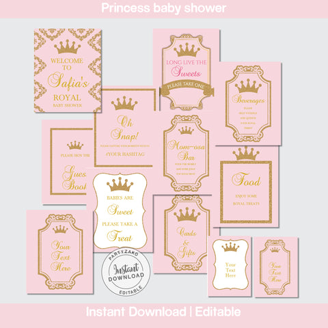 Princess Baby Shower Posters