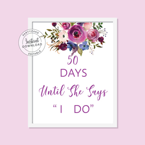 Purple - Days until I say I do Poster