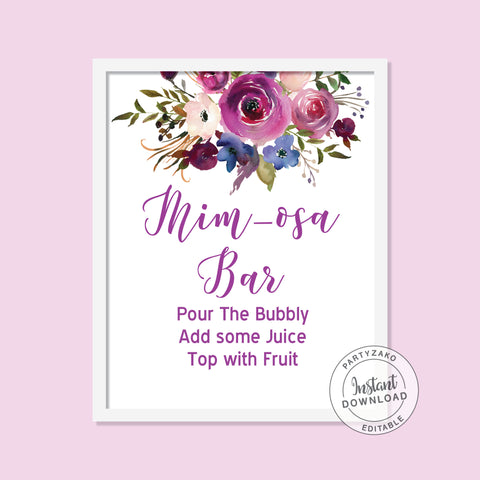 Purple Bridal Shower - Mimosa Bar Sign - Editable