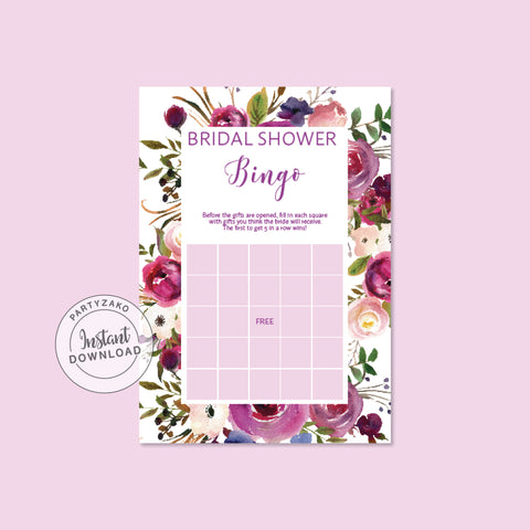 Purple Bridal shower Bingo