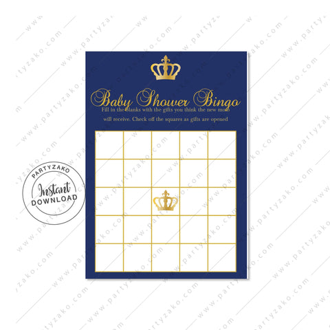 Royal Prince Baby Shower Bingo